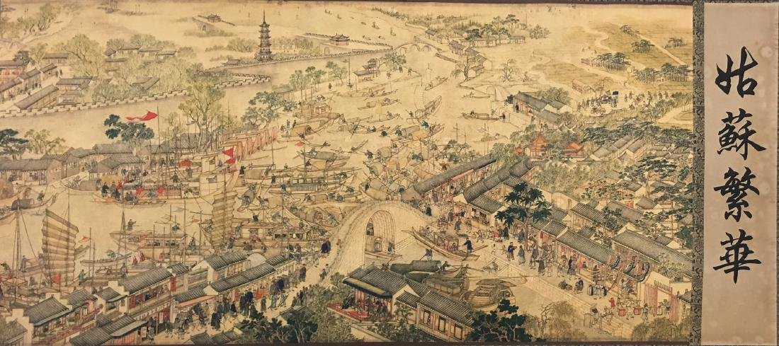Xu Yang, Chinese Scroll Painting Of Prosperous Suzhou, - 5