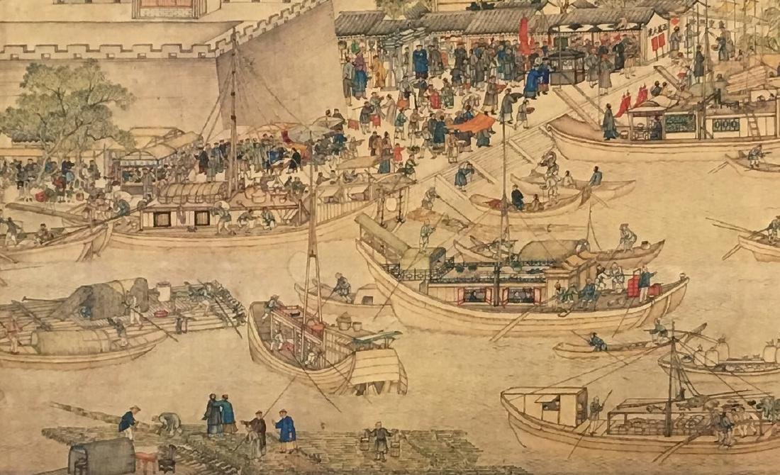 Xu Yang, Chinese Scroll Painting Of Prosperous Suzhou, - 7