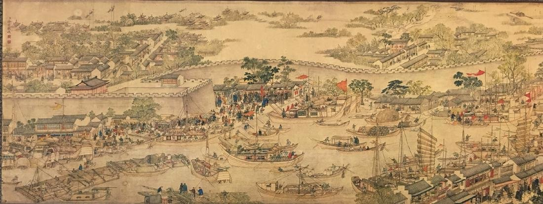 Xu Yang, Chinese Scroll Painting Of Prosperous Suzhou, - 8