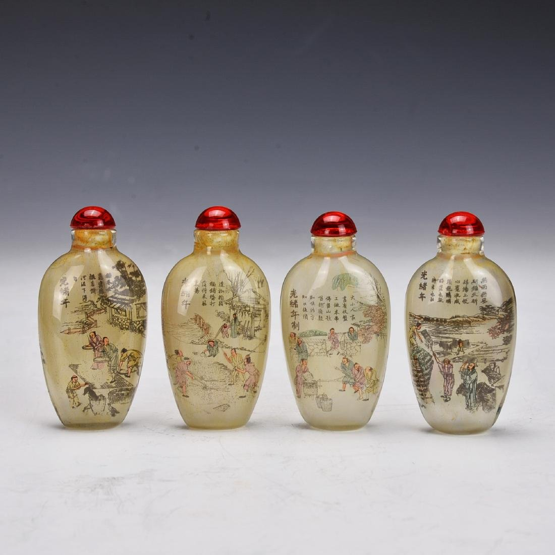 4 Pieces Chinese Inversion Painting Snuff Bottle
