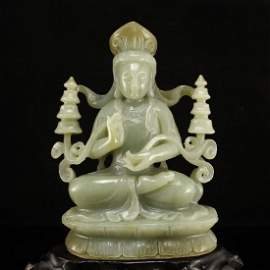 Chinese Jade Block Carved GuanYin