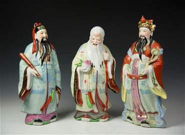 Chinese 3 PCS Large FULUSHOU Porcelain Figures