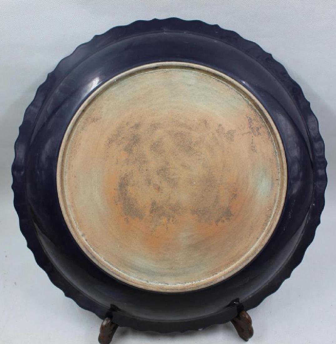 Chinese Yuan Dyanaty Deep Rich Blue Dragon Plate - 3