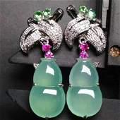 Chinese Jadeite Gourd Earrings