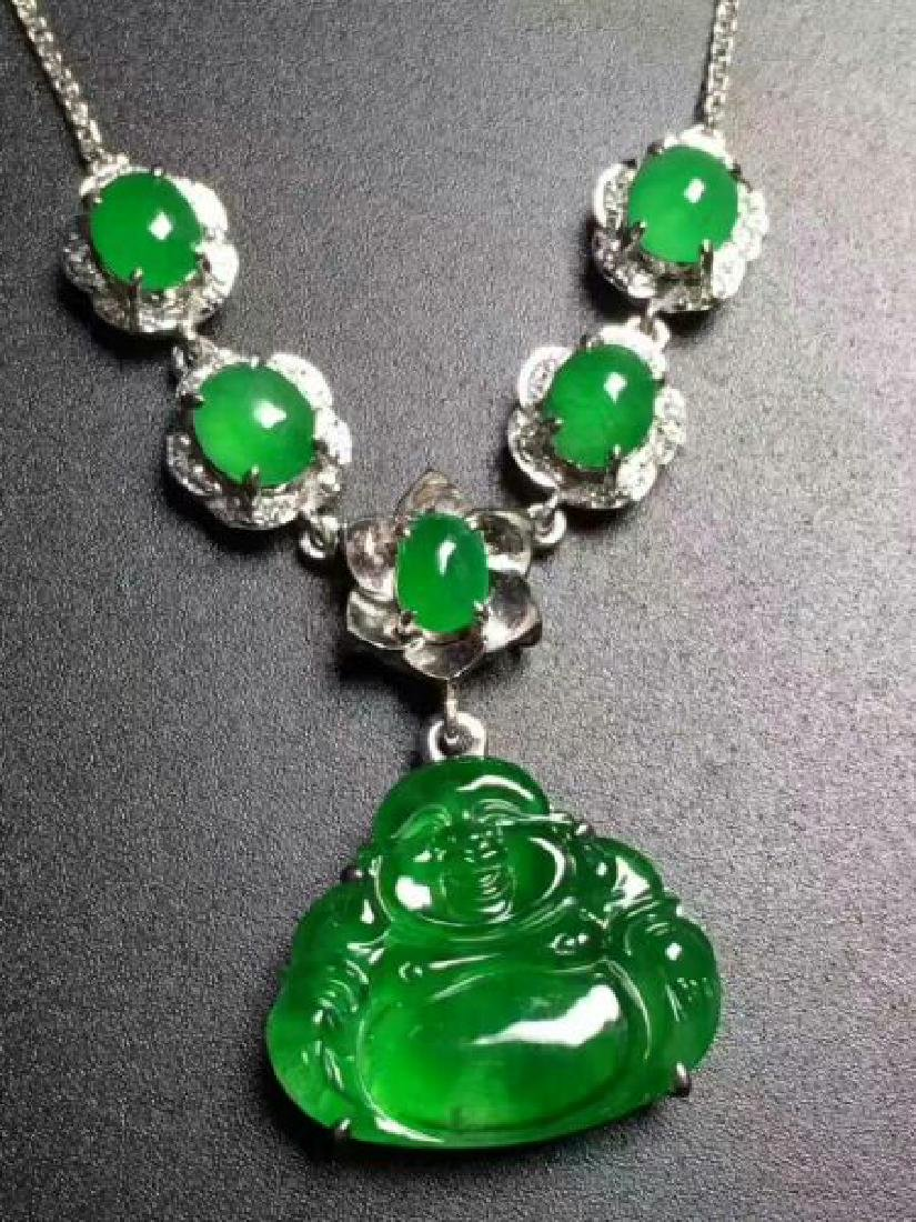 Chinese Jadeite Necklace with Pendant