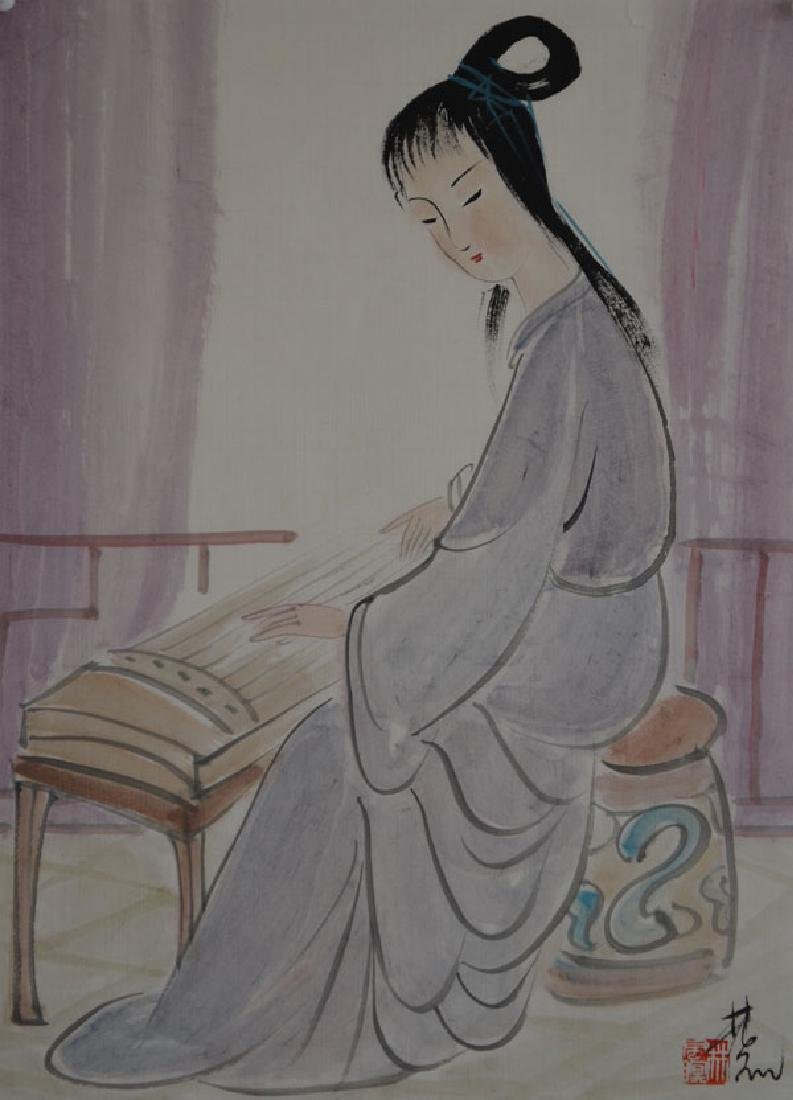 Chinese Painting of Woman Figure, Signed Lin Fengmian