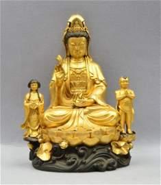 Chinese Gilt Bronze Guanyin Buddha