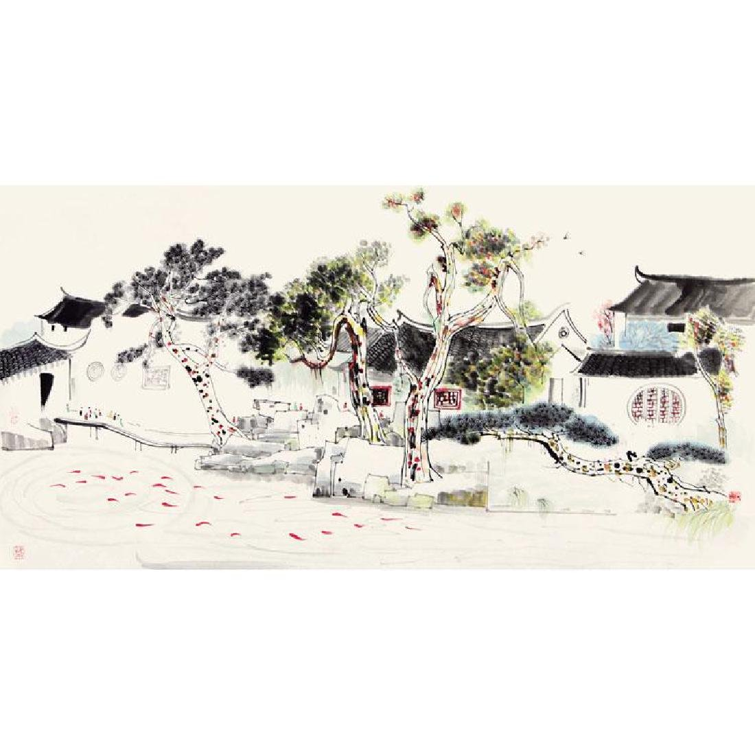 Chinese Painting of Landscape, Signed Wu Guan Zhong