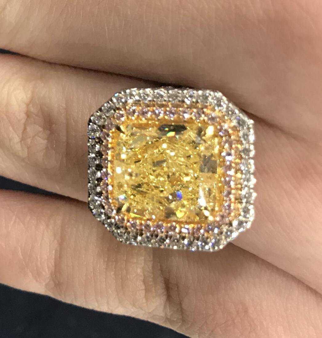 A Yellow Color Diamond Ring - 4