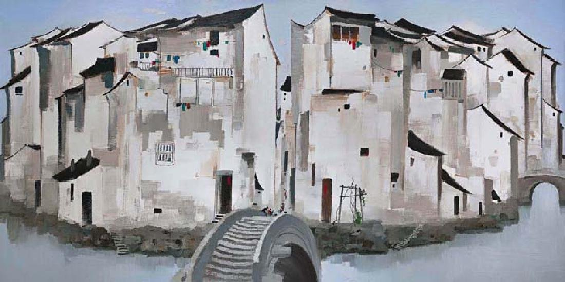 Chinese Oil Painting on Canvas, Wu Guanzhong