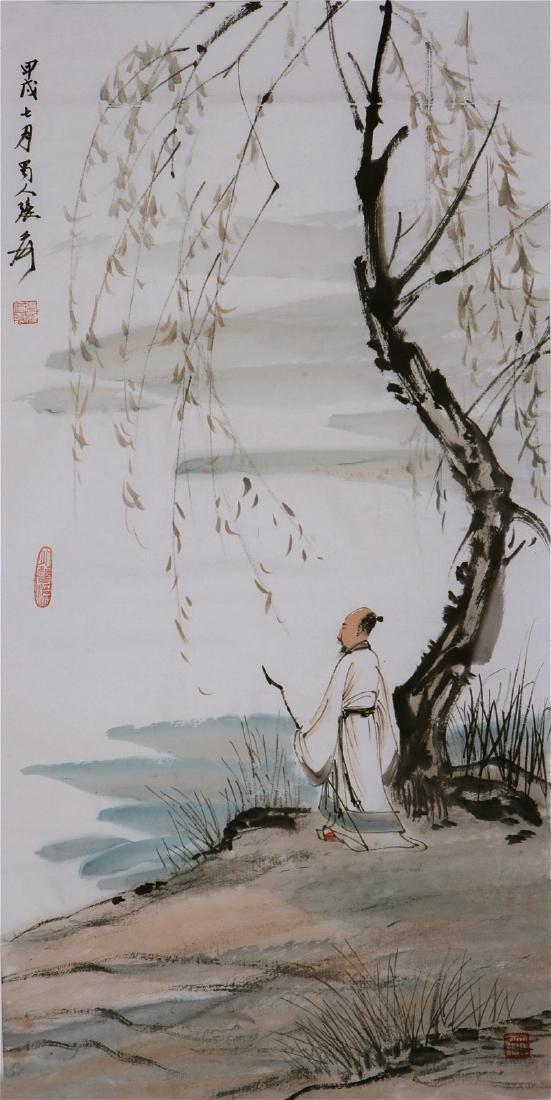 CHINESE PAINTING OF FIGURE, SIGNED ZHANG DA QIAN
