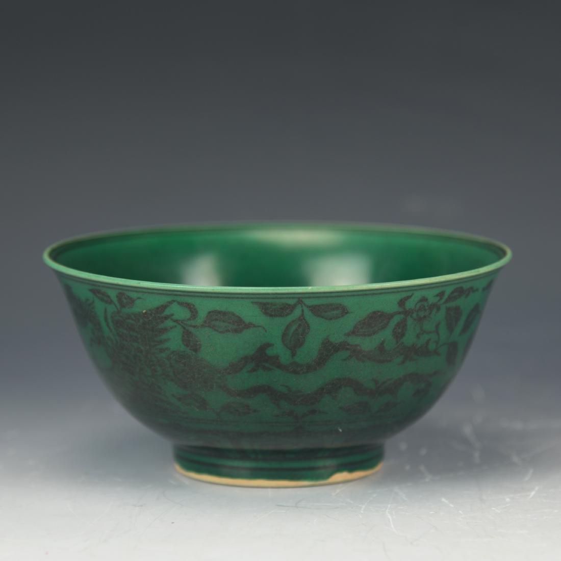 CHINESE GREEN GLAZE PHOENIX PEONY BOWL
