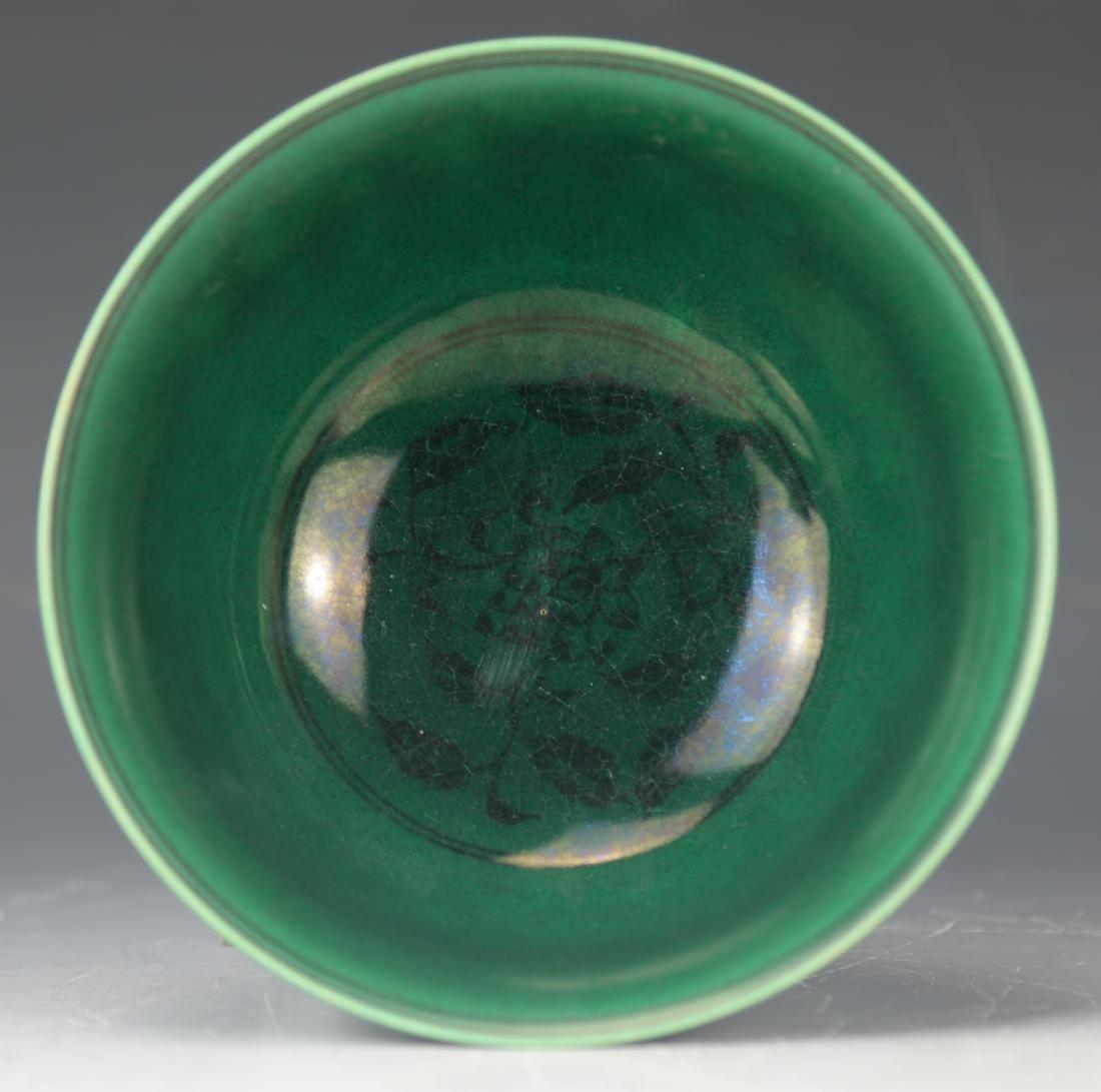 CHINESE GREEN GLAZE PHOENIX PEONY BOWL - 5