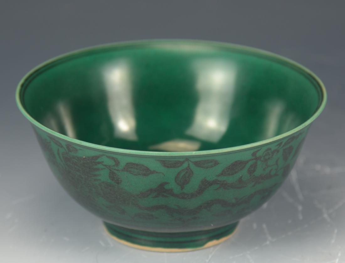 CHINESE GREEN GLAZE PHOENIX PEONY BOWL - 7