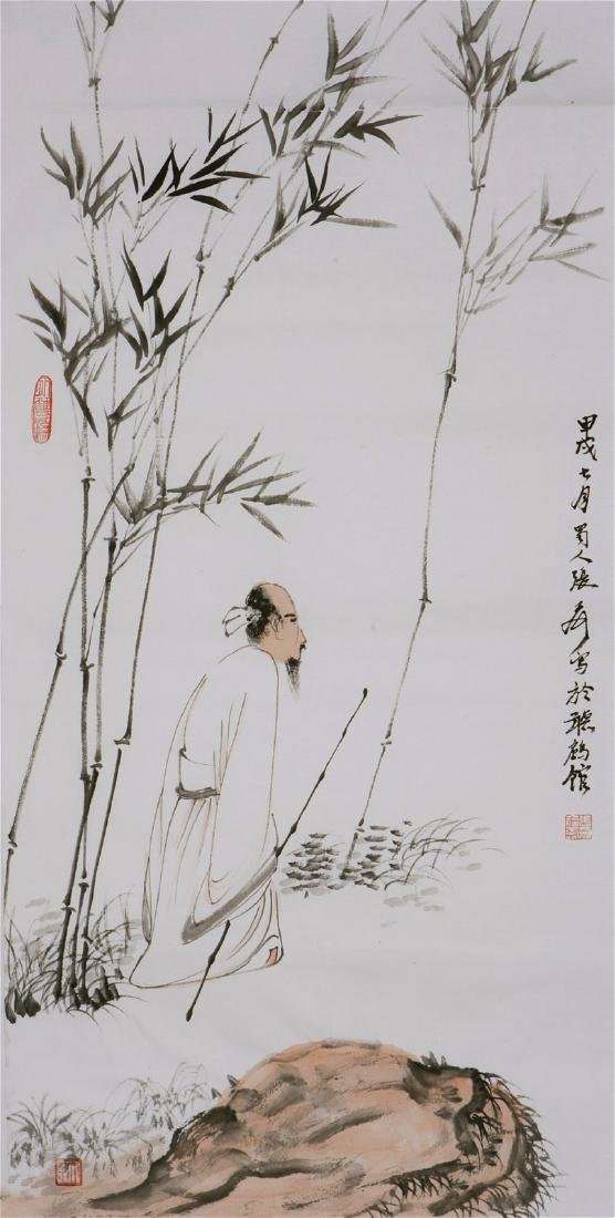CHINESE PAINTING OF FIGURE AND LANDSCAPE, SIGNED ZHANG