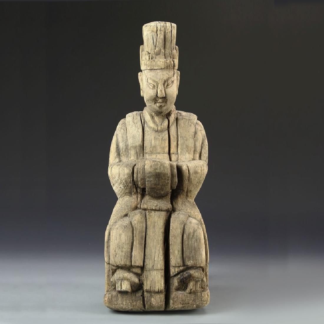 CHINESE ANTIQUE WOOD BUDDHA
