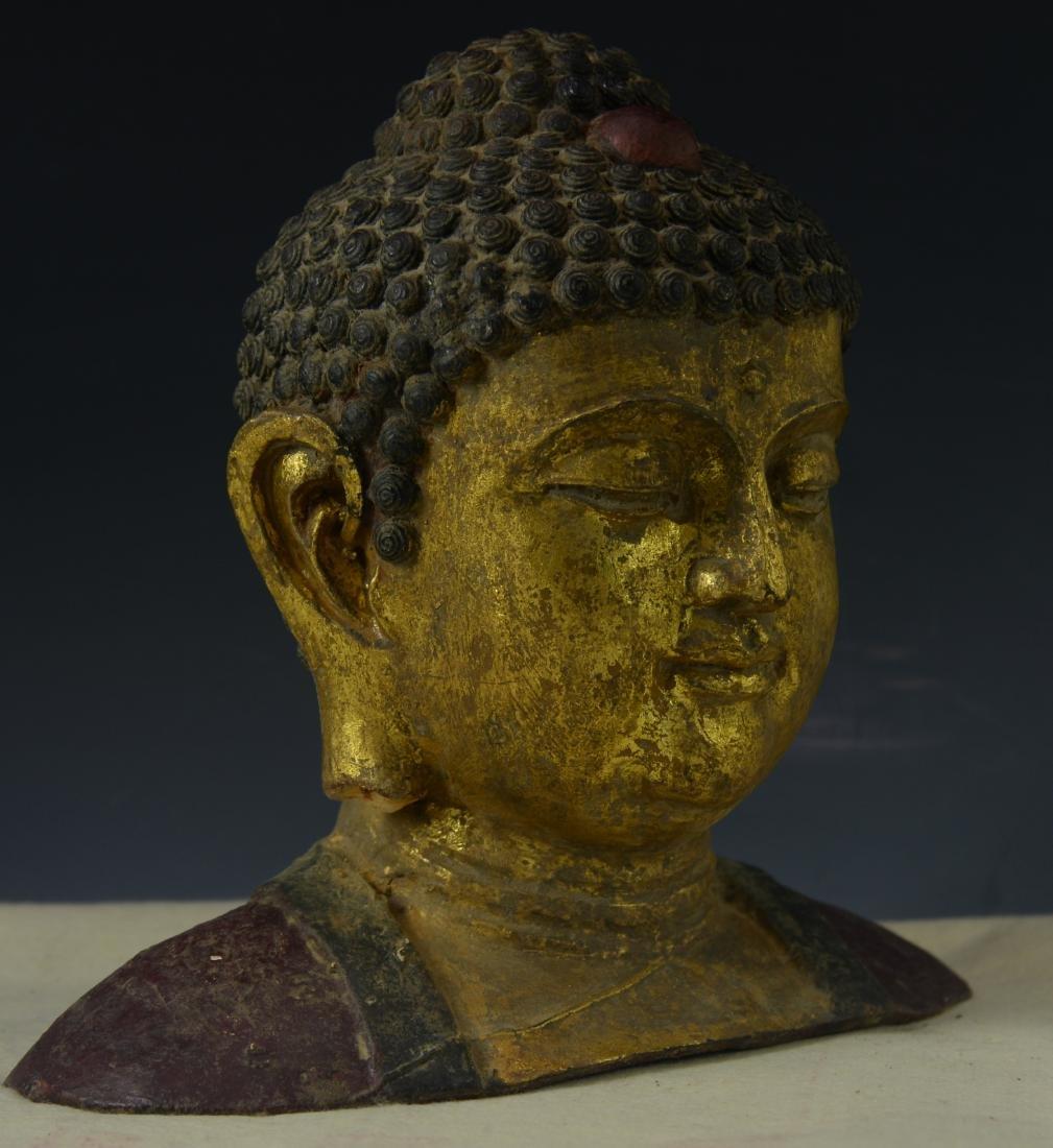 CHINESE GILT BRONZE BUDDHA HEAD - 2