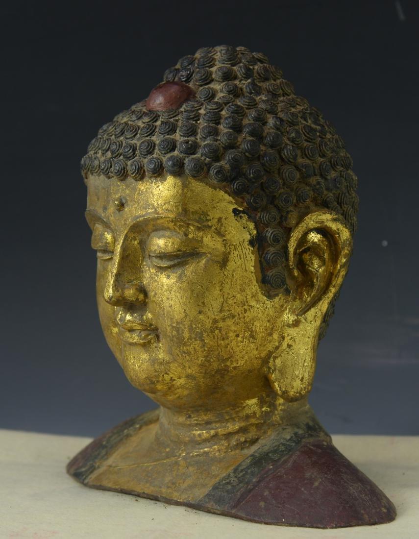 CHINESE GILT BRONZE BUDDHA HEAD - 3
