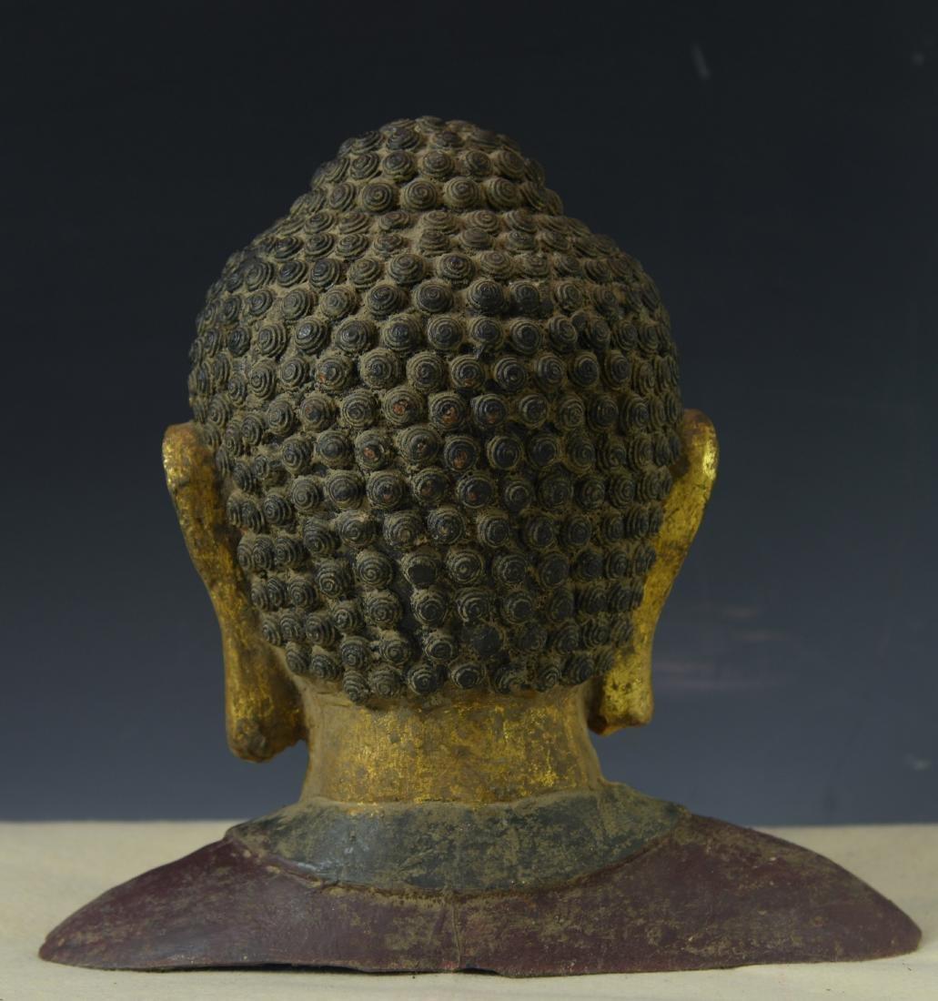 CHINESE GILT BRONZE BUDDHA HEAD - 4