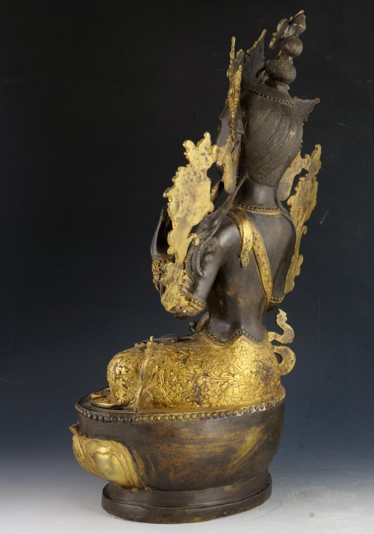 CHINESE BRONZE GILT BUDDHA - 4