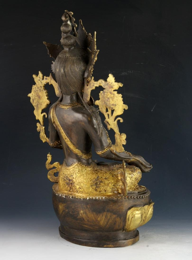 CHINESE BRONZE GILT BUDDHA - 6