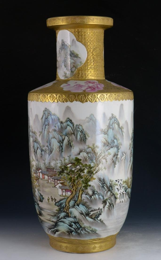 CHINESE GILTED FAMILLE ROSE VASE - 2