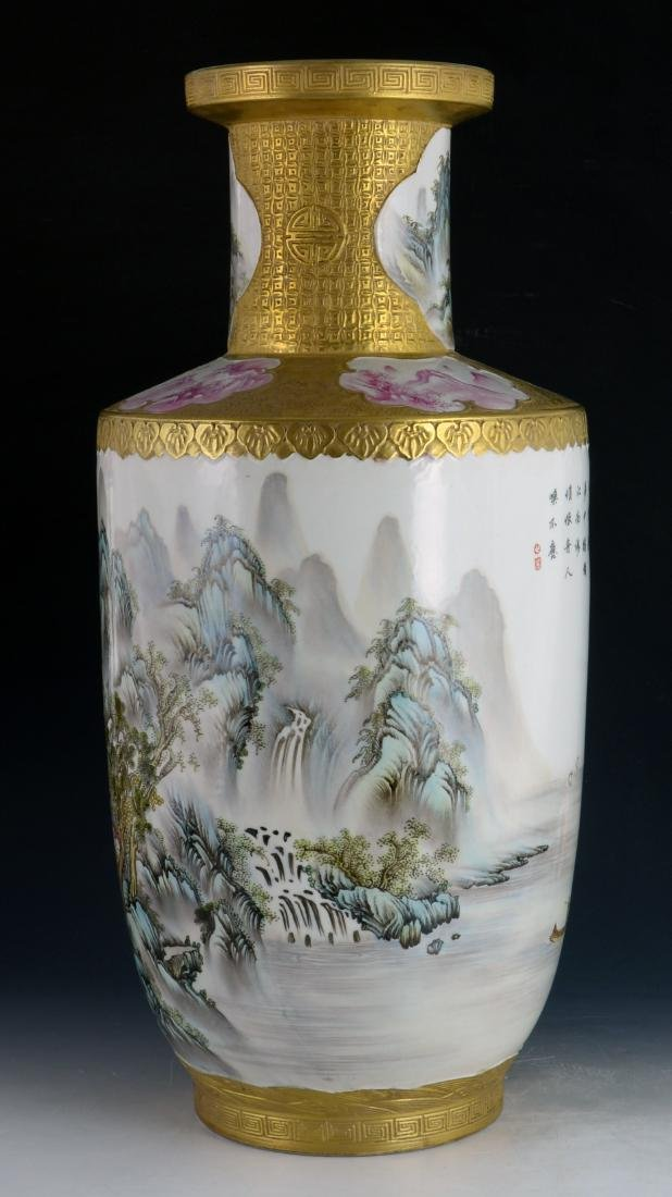 CHINESE GILTED FAMILLE ROSE VASE - 4