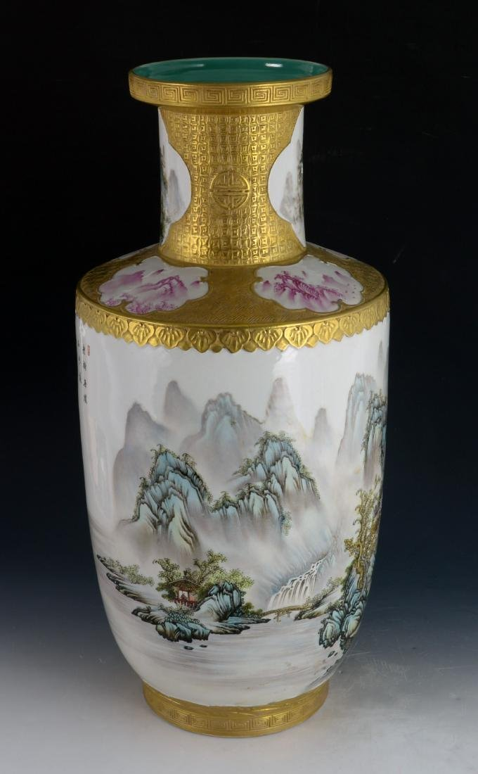 CHINESE GILTED FAMILLE ROSE VASE - 6