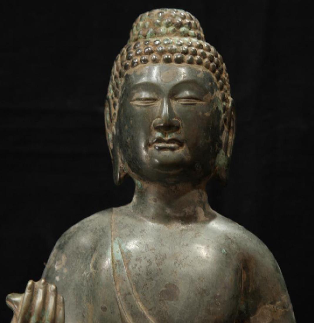NORTHERN WEI TIBETAN OLD BRONZE BUDDHA - 4
