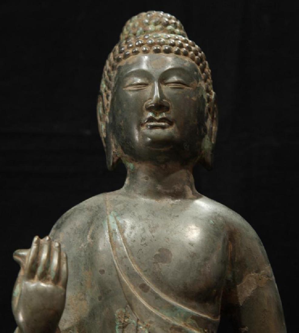 NORTHERN WEI TIBETAN OLD BRONZE BUDDHA - 6