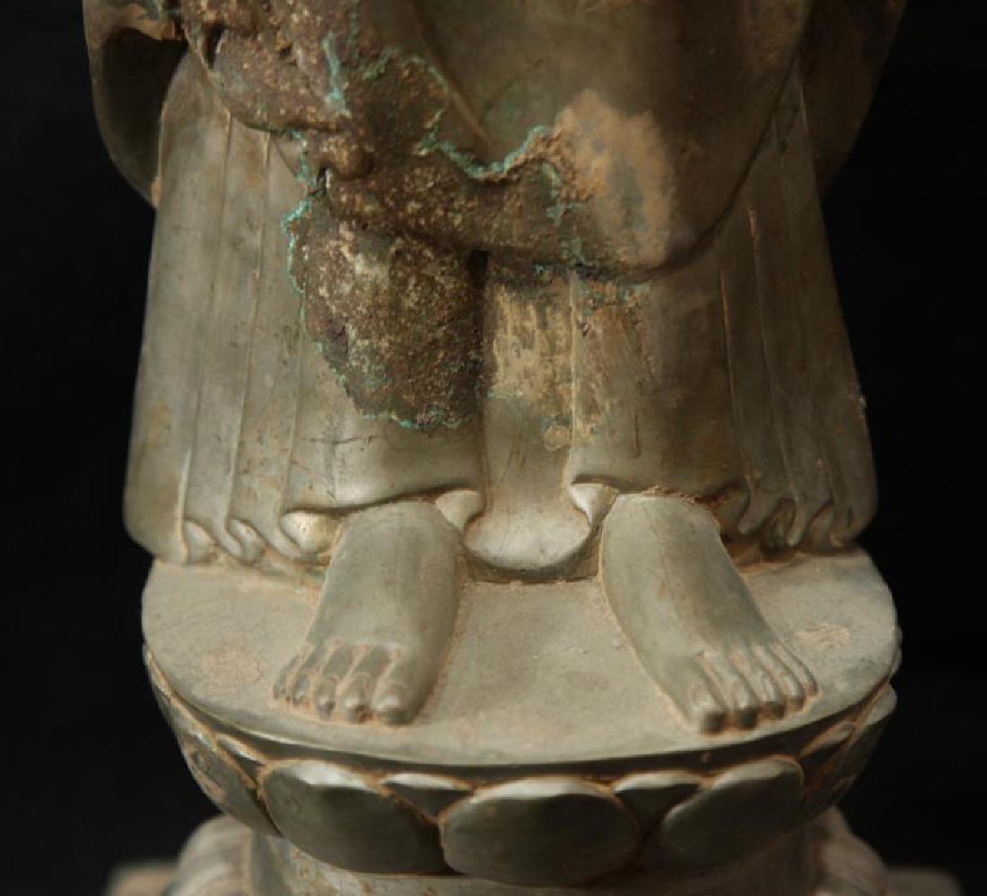 NORTHERN WEI TIBETAN OLD BRONZE BUDDHA - 9