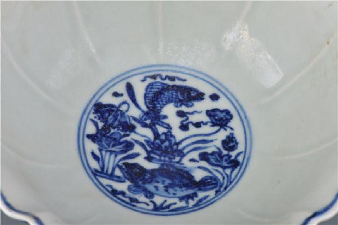 A XUANDE BLUE AND WHITE HIGH-STEM BOWL - 10