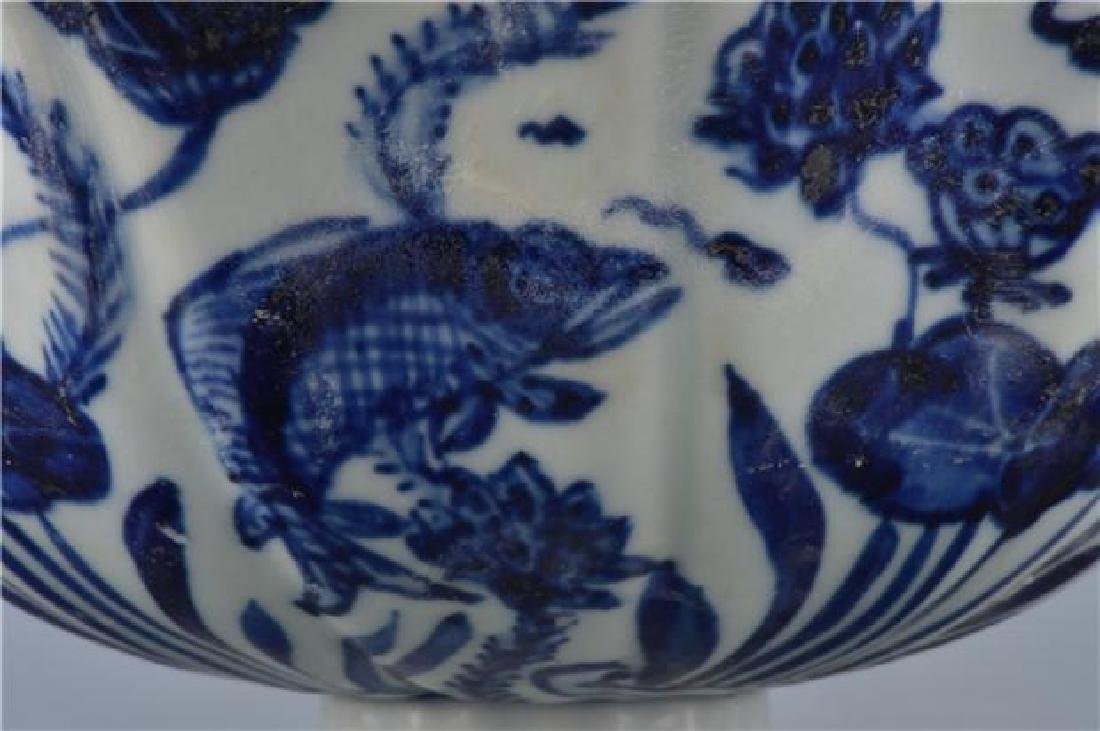 A XUANDE BLUE AND WHITE HIGH-STEM BOWL - 2