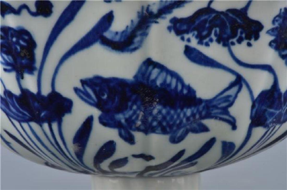 A XUANDE BLUE AND WHITE HIGH-STEM BOWL - 3