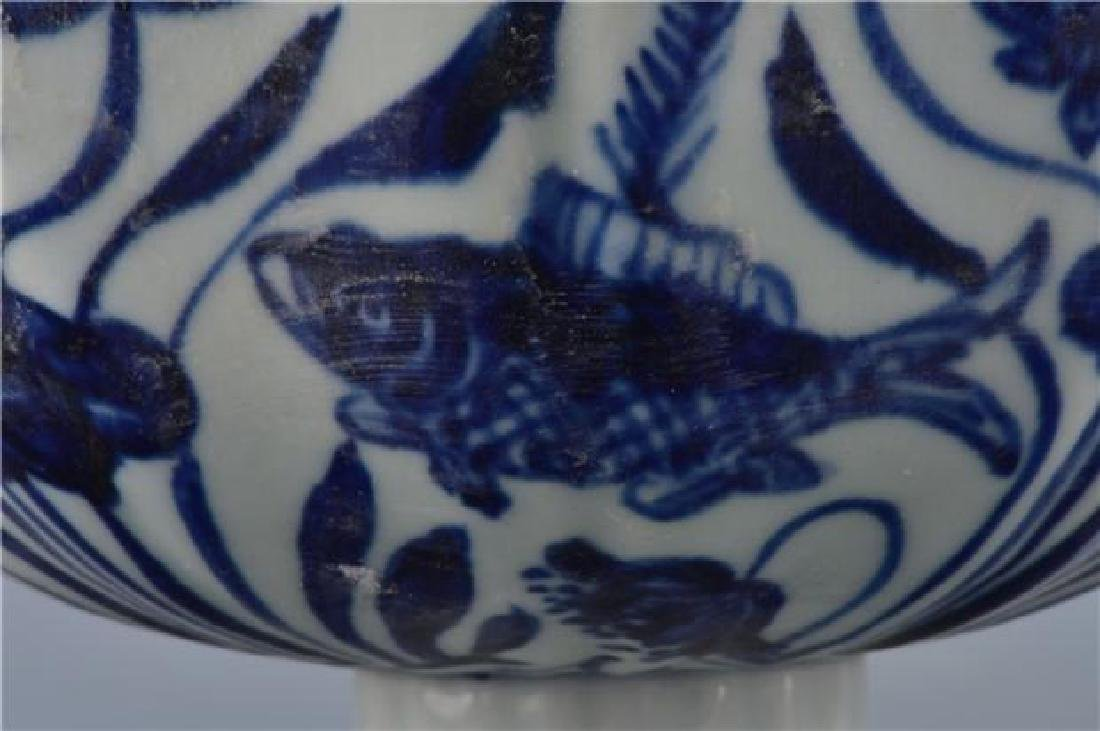 A XUANDE BLUE AND WHITE HIGH-STEM BOWL - 5