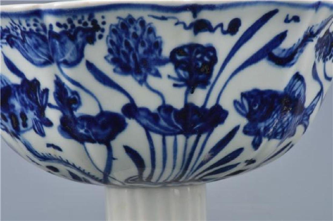 A XUANDE BLUE AND WHITE HIGH-STEM BOWL - 7