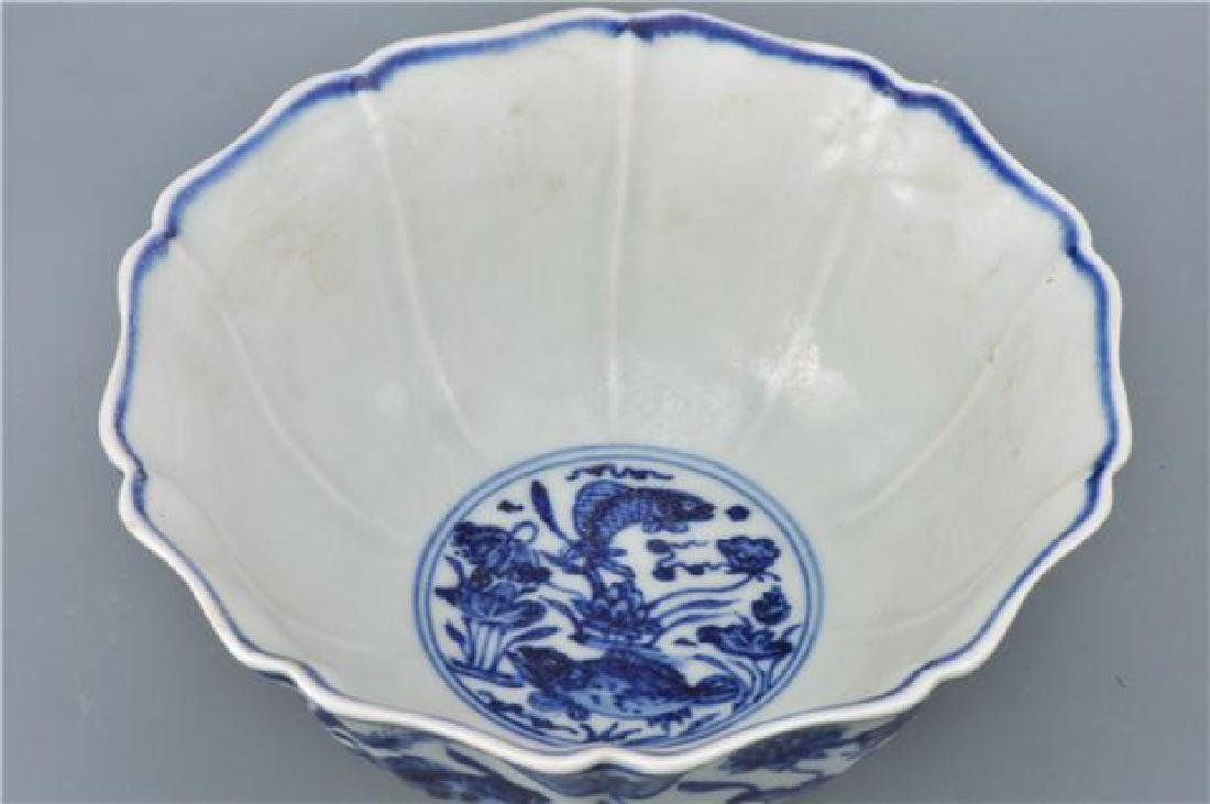 A XUANDE BLUE AND WHITE HIGH-STEM BOWL - 8