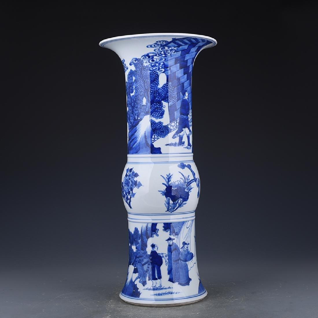 A KANGXI BLUE AND WHITE 'PHOENIX TAIL' VASE
