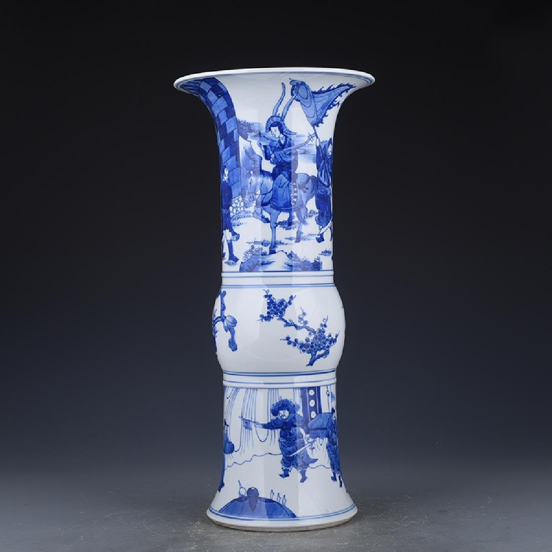 A KANGXI BLUE AND WHITE 'PHOENIX TAIL' VASE - 2