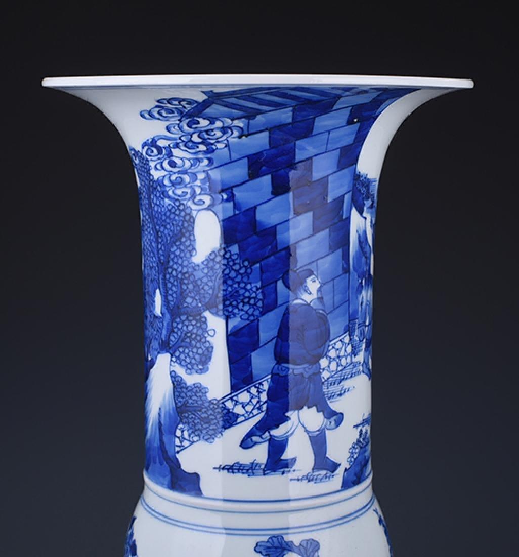 A KANGXI BLUE AND WHITE 'PHOENIX TAIL' VASE - 4