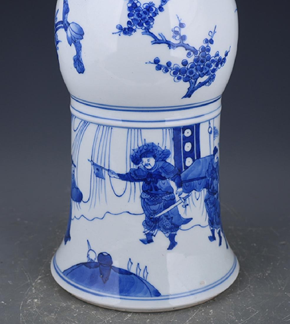 A KANGXI BLUE AND WHITE 'PHOENIX TAIL' VASE - 7