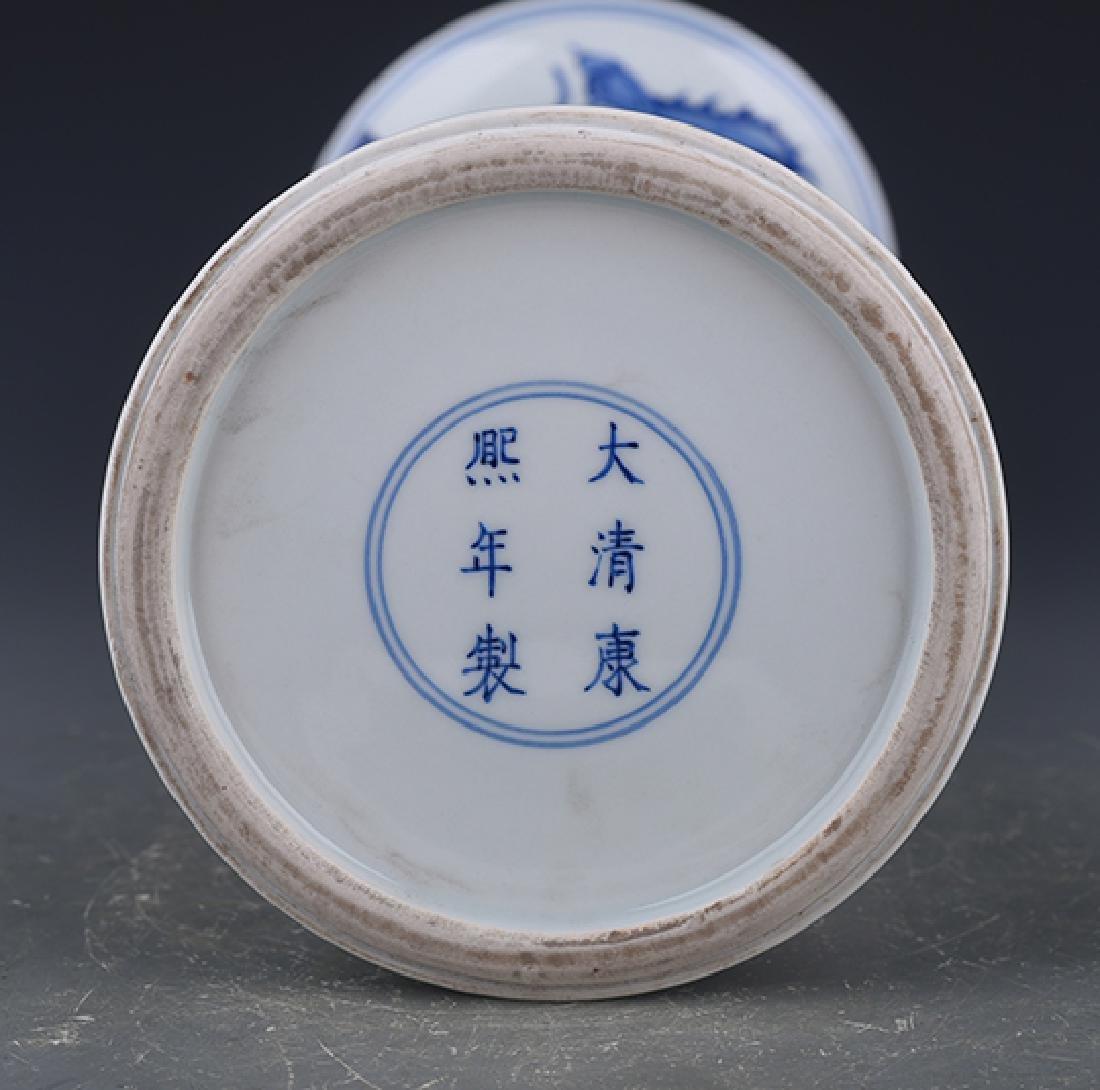 A KANGXI BLUE AND WHITE 'PHOENIX TAIL' VASE - 8