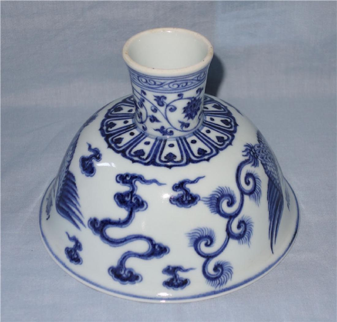 A YONGLE BLUE AND WHITE PHOENIX HIGH-STEM BOWL - 6