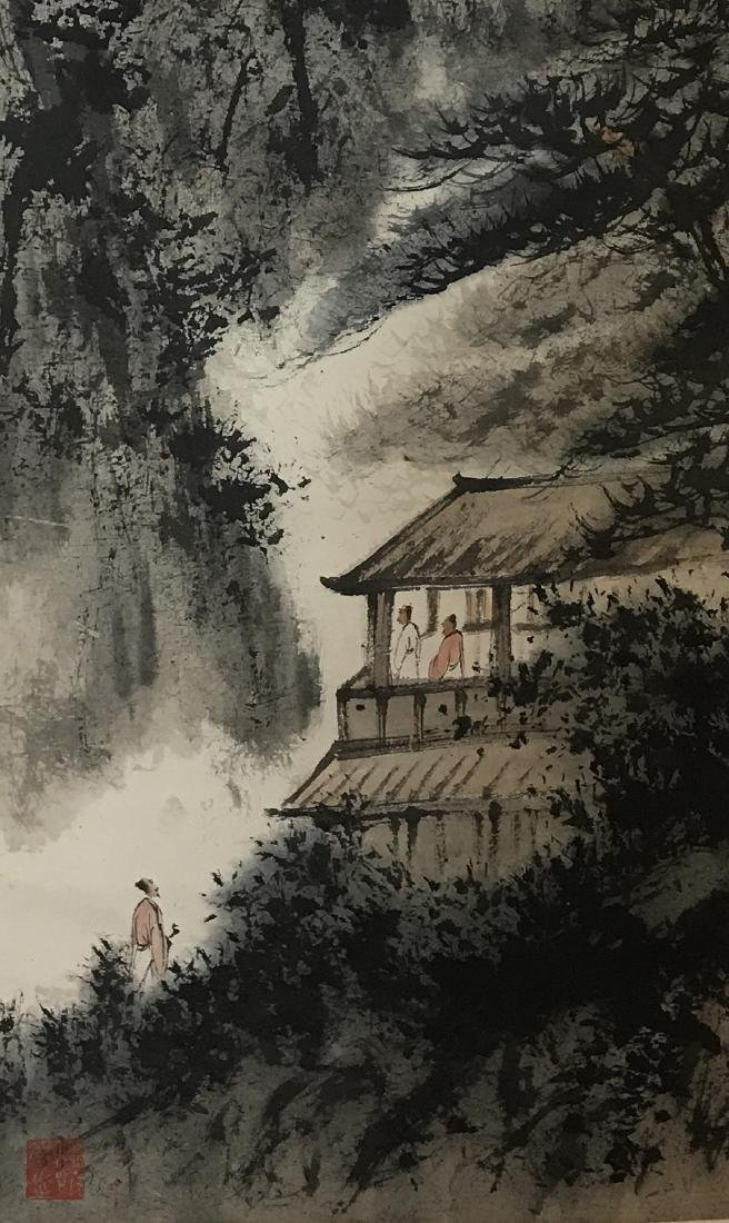 CHINESE PAINTING OF LADNDSCAPE, SIGNED FU BAO SHI - 2