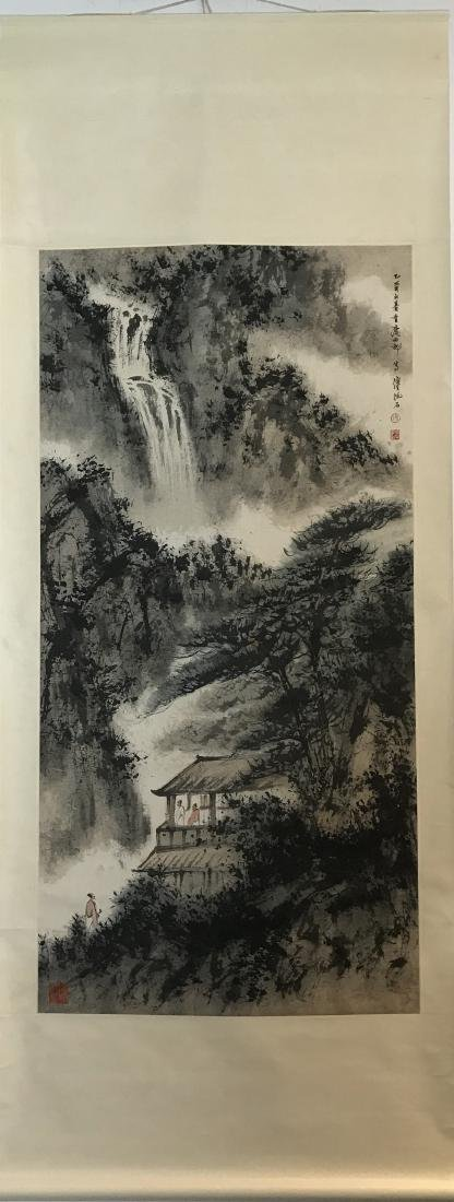 CHINESE PAINTING OF LADNDSCAPE, SIGNED FU BAO SHI - 4