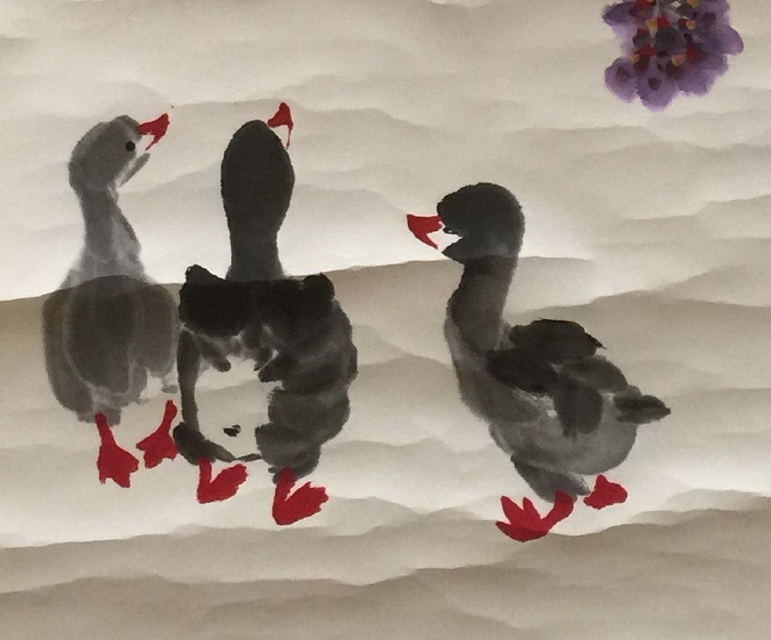CHINESE SCROLL PAINTING OF DUCK FIGURES - 4
