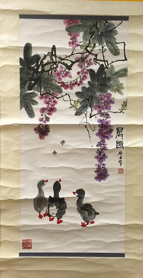 CHINESE SCROLL PAINTING OF DUCK FIGURES - 5