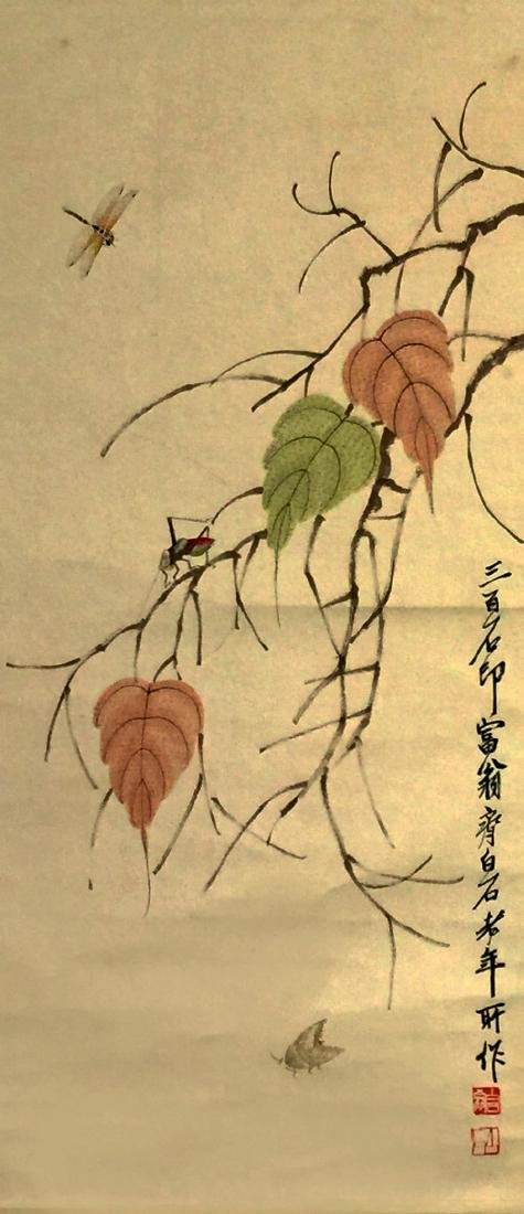 CHINESE SCROLL PAINTING, ATTRIBUTED TO QI BAI SHI - 3