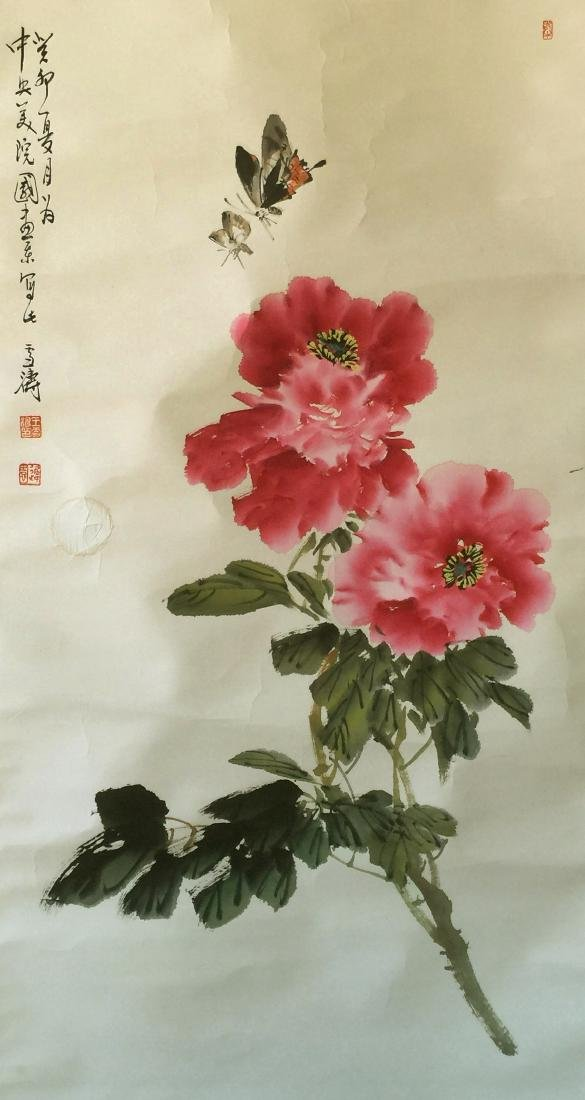 CHINESE SCROLL PAINTING OF FLOWER AND BIRD