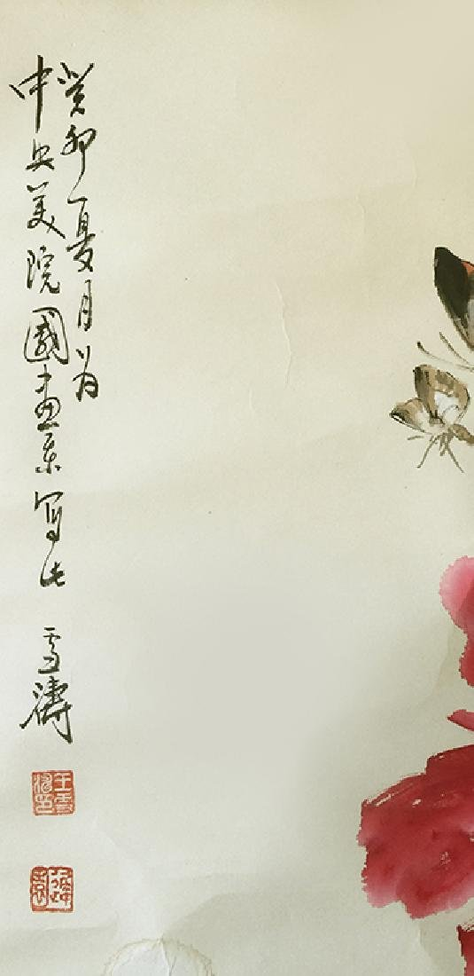 CHINESE SCROLL PAINTING OF FLOWER AND BIRD - 2